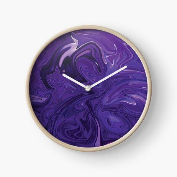 Marble Abstract - Purple Navy swirls Clock