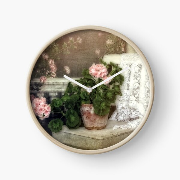 Flowers on a chair Clock