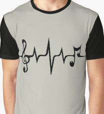 Music Pulse Heartbeat Notes Clef Frequency Wave Sound Festival  Graphic T-Shirt