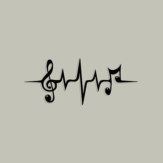 Music Pulse Heartbeat Notes Clef Frequency Wave Sound Festival  by Anne Mathiasz