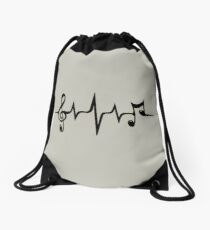 Music Pulse Heartbeat Notes Clef Frequency Wave Sound Festival  Drawstring Bag