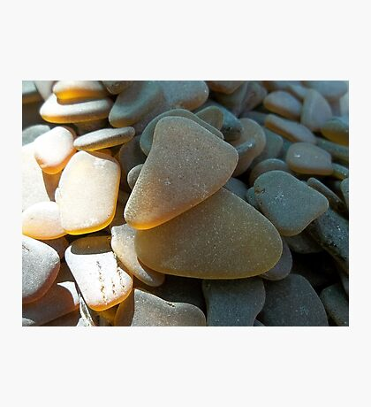 Sunlit Brown and Honey Amber Sea Glass Pieces Photographic Print