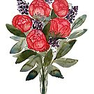 watercolor peony lavender bouquet by Wieskunde