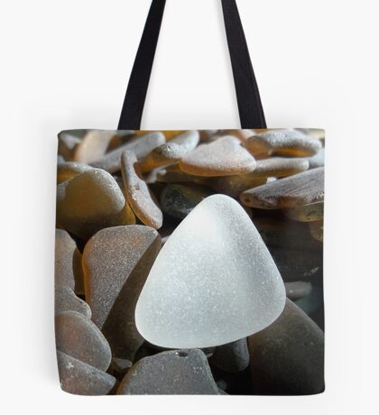 White Sea Glass on Brown Sea Glass Pieces Tote Bag