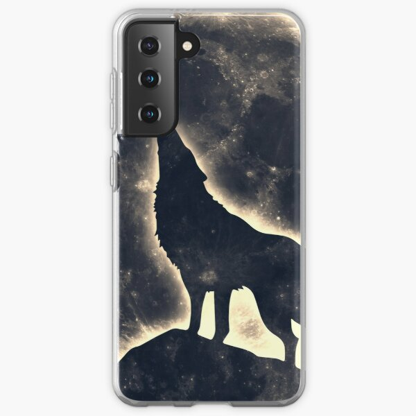 Wolf, moon, fantasy, wild, dog, wolves Samsung Galaxy Soft Case