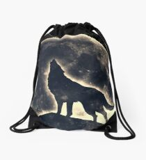 Wolf, moon, fantasy, wild, dog, wolves Drawstring Bag