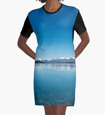 Blaue Linie Landschaft T-Shirt Kleid