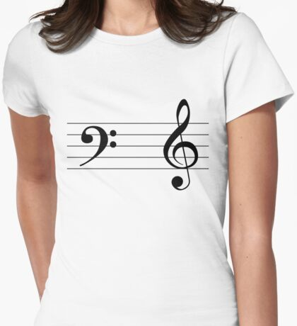 Left Hand  Bass / Right Hand Treble (Black on White/Colour Version) T-Shirt
