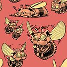 Pug Bees - Orange Pattern by ChrisWhartonArt