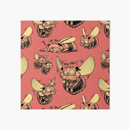Pug Bees - Orange Pattern Art Board Print