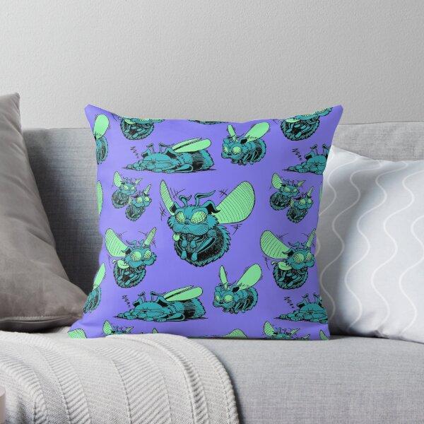 Pug Bees - Blue/Green Pattern Throw Pillow
