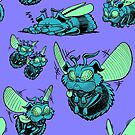 Pug Bees - Blue/Green Pattern by ChrisWhartonArt