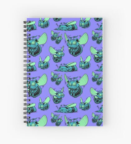 Pug Bees - Blue/Green Pattern Spiral Notebook
