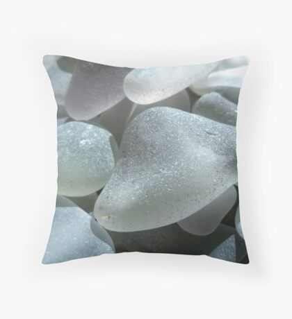 Hidden Sea Glass Colors in White Sea Glass Throw Pillow