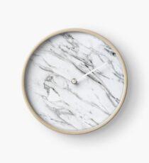 White Marble Stone Pattern Clock