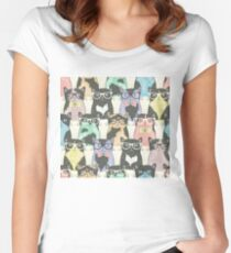 Seamless pattern with hipster cute cats Women's Fitted Scoop T-Shirt