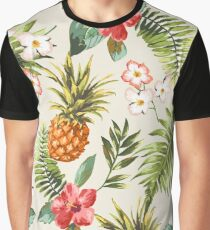Vintage seamless tropical flowers with pineapple pattern  Graphic T-Shirt