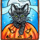 Black Cat and Pumpkin under a Halloween Moon by Cleave
