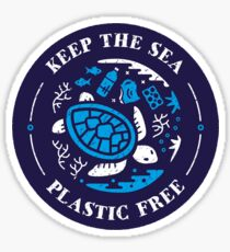 Keep the Sea Plastic Free Marine Scene Sticker
