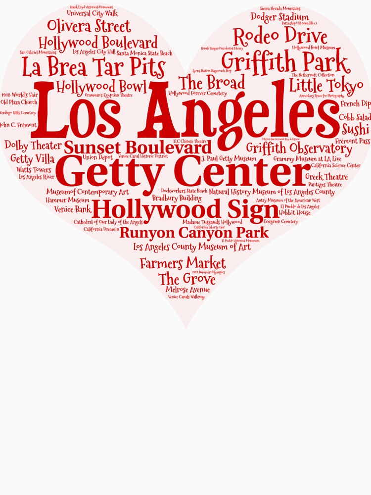 Heart of Los Angeles Heart Word Cloud Products by Mel747
