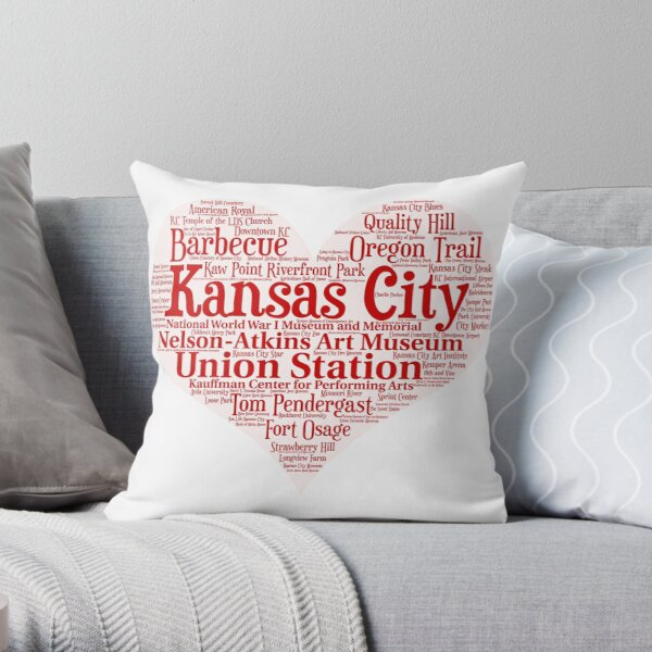 Heart of Kansas City Heart Word Cloud Products Throw Pillow