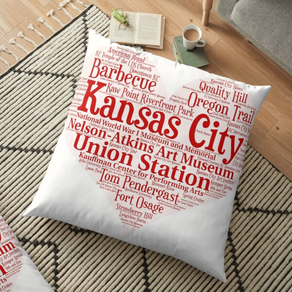 Heart of Kansas City Heart Word Cloud Products Floor Pillow