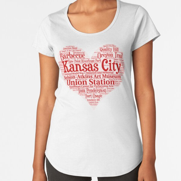 Heart of Kansas City Heart Word Cloud Products Premium Scoop T-Shirt