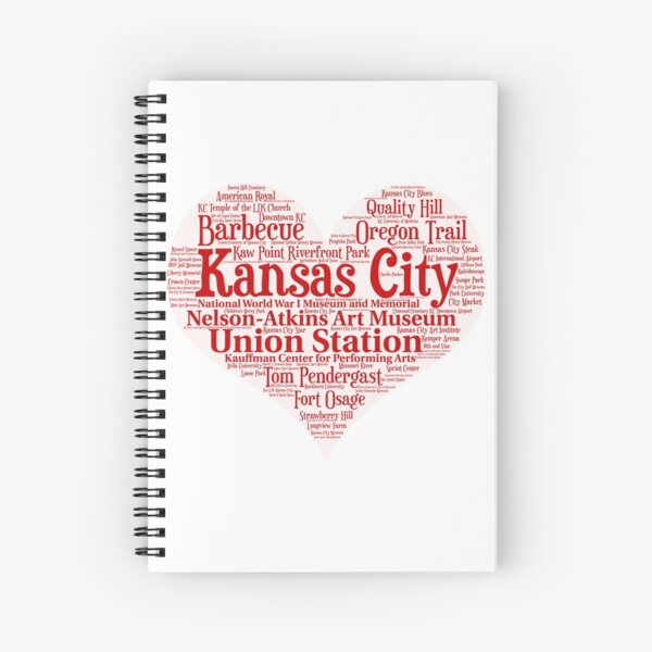 Heart of Kansas City Heart Word Cloud Products Spiral Notebook