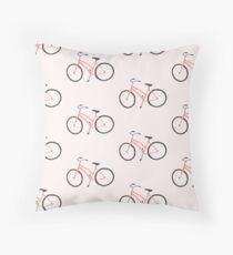 Charming pink bicycle pattern Throw Pillow