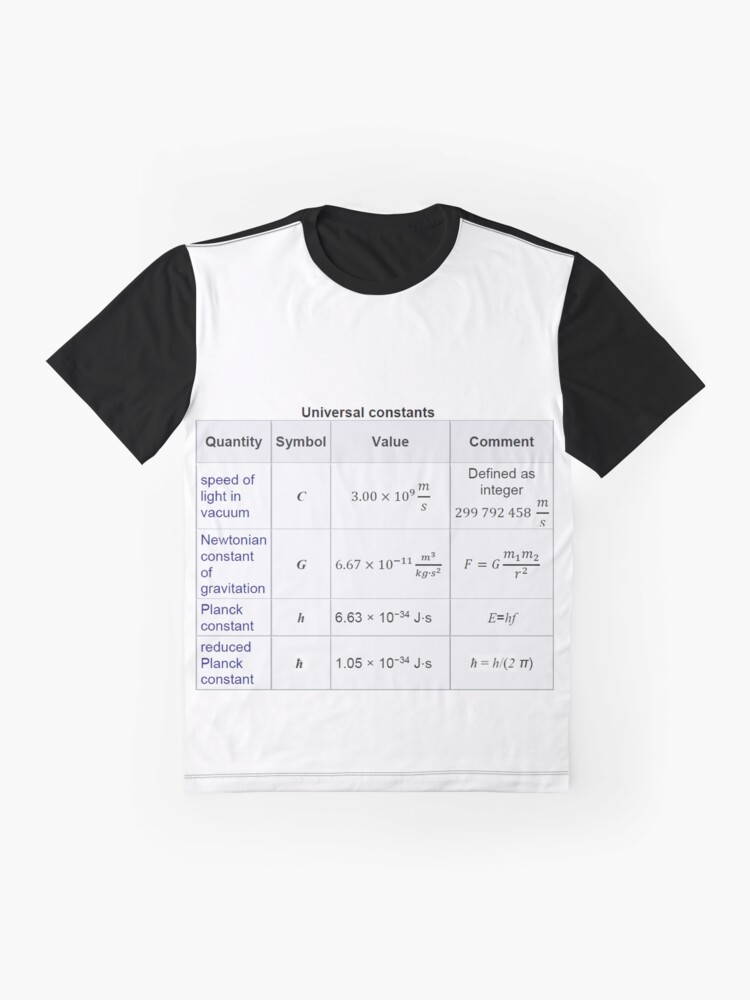 Alternate view of #Physics #Universal #Constants: Speed of #Light in Vacuum, Newtonian Constant of Gravitation, Planck Constant Graphic T-Shirt