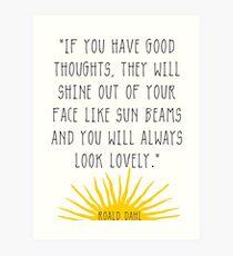 Gute Gedanken Roald Dahl Zitat Kunstdruck