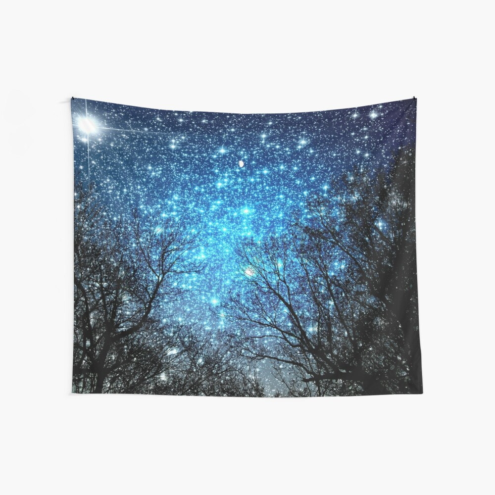 Black Trees Sparkle Blue Space Wall Tapestry