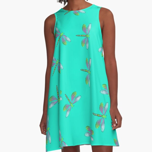Aqua Flurry of Dragonflies  A-Line Dress