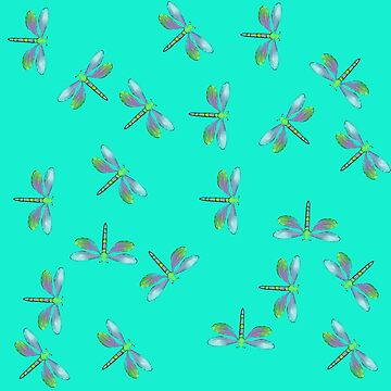 Aqua Flurry of Dragonflies  by Melindatodd