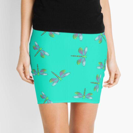Aqua Flurry of Dragonflies  Mini Skirt