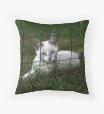 through the fence Throw Pillow
