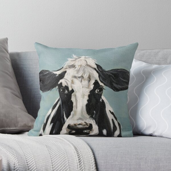 Black and white cow painting  Throw Pillow