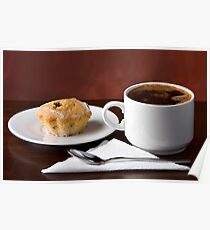 Black coffee and muffin Poster