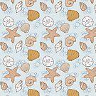 Beach Seashell Pattern Light Blue by kellie-jayne