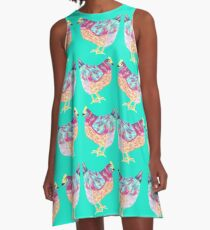 Colorful Chicken On Aqua Background A-Line Dress