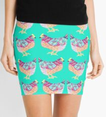 Colorful Chicken On Aqua Background Mini Skirt