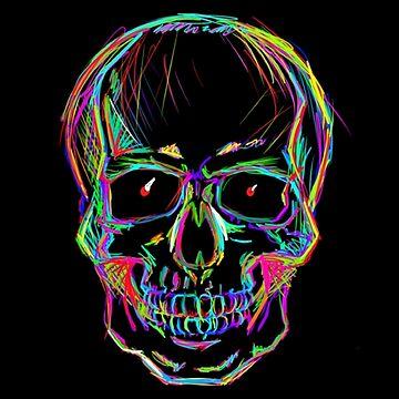 Neon skull by Superbluepanda