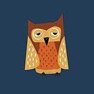 Sleepy Owl - Cute Animal Illustration by SpikyHarold