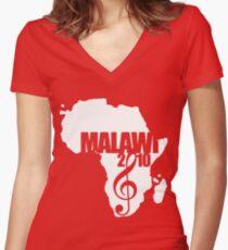 MFM White Logo Women's Fitted V-Neck T-Shirt