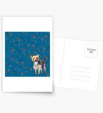 Yorkie on blue Postcards