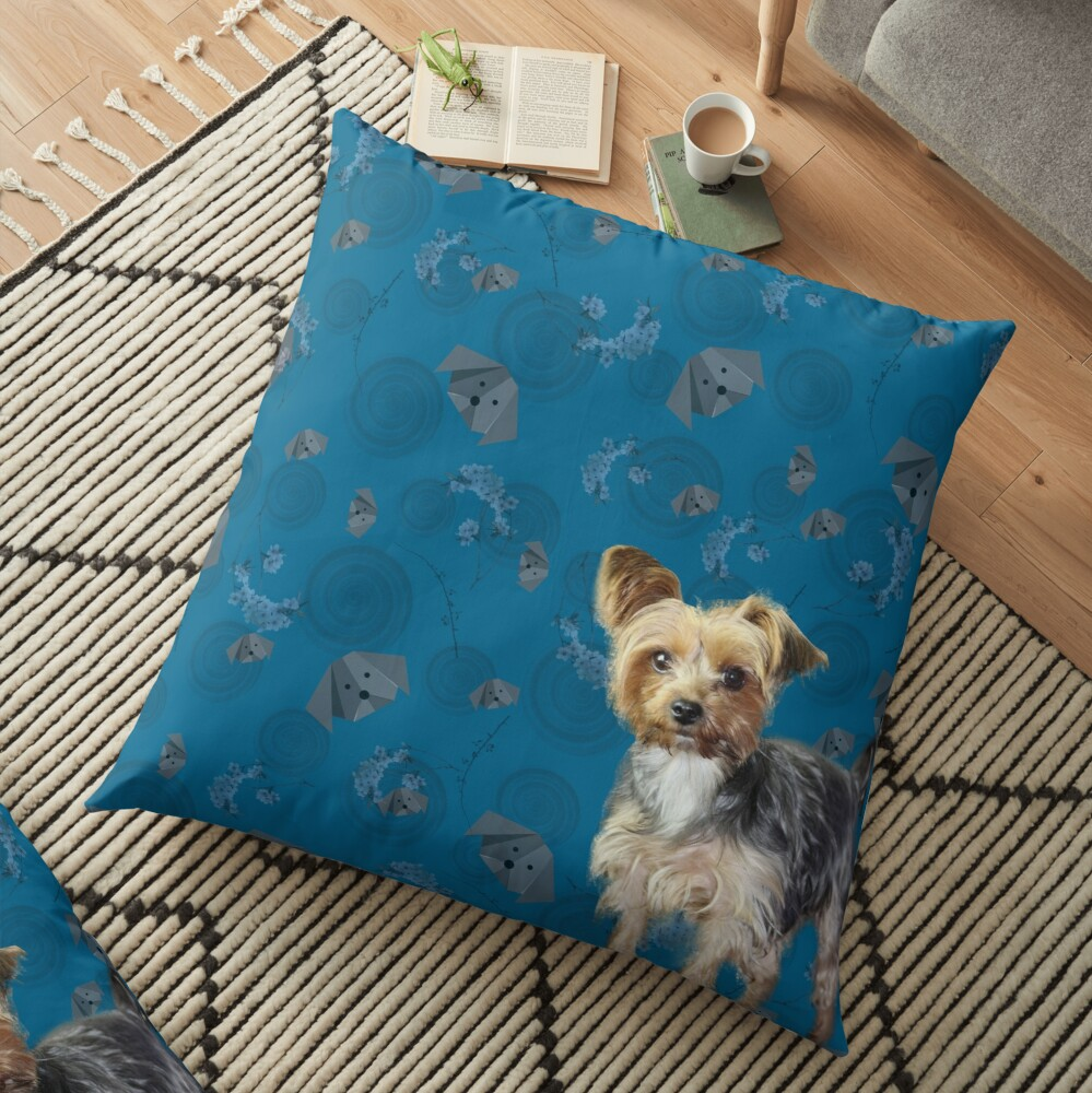 Yorkie on blue Floor Pillow