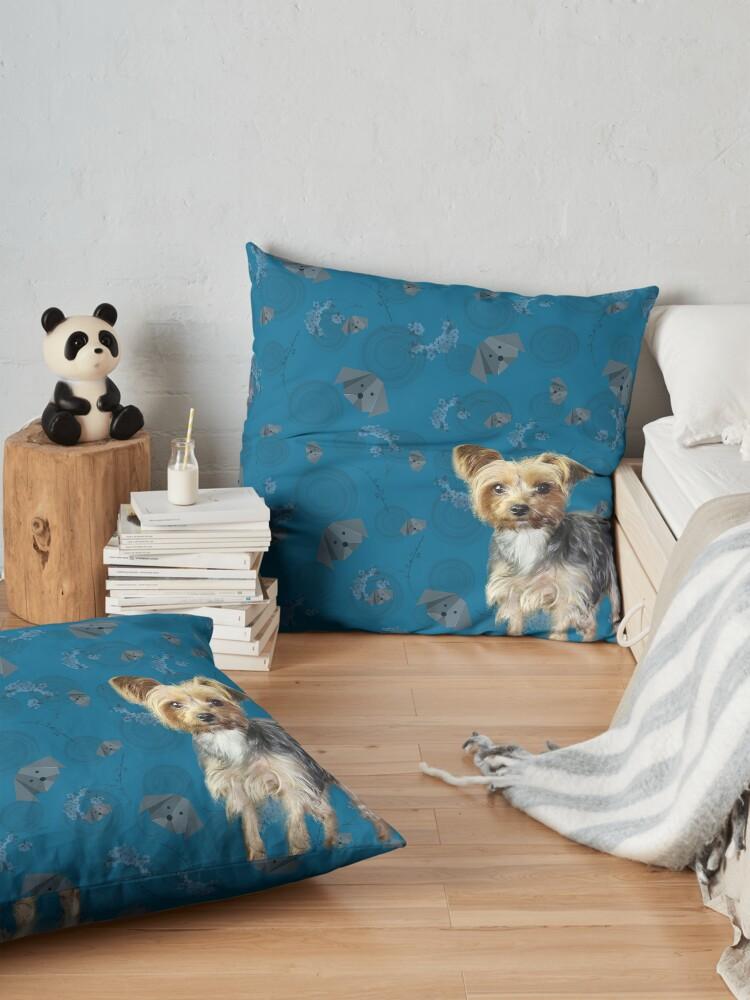 Alternate view of Yorkie on blue Floor Pillow