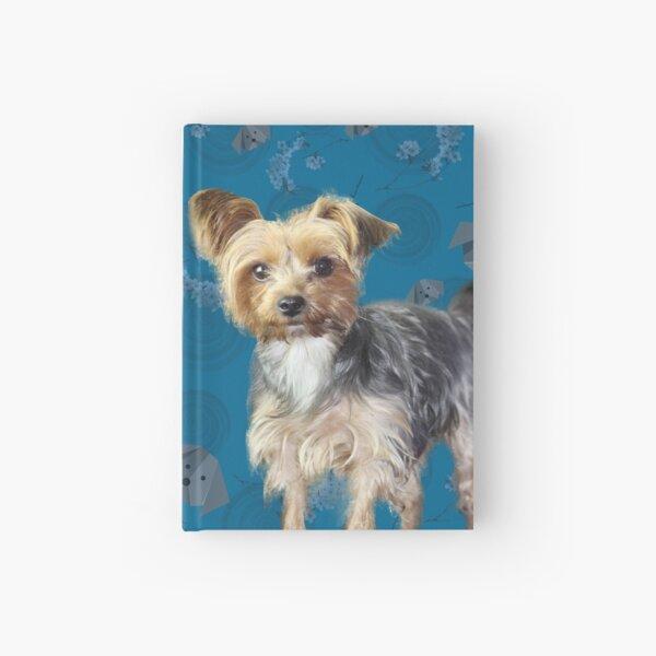 Yorkie on blue Hardcover Journal