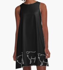 White Cow Silhouette  A-Line Dress