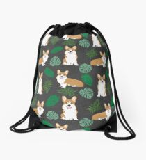 Corgi summer monstera tropical pure breed dog gifts Drawstring Bag